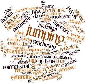 Abstract word cloud for Jumping with related tags and terms